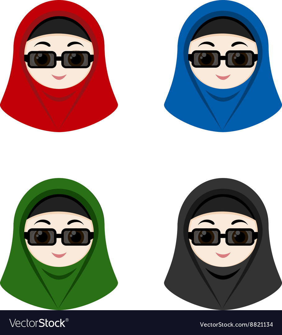 Cartoon avatars of girls with hijab vector image
