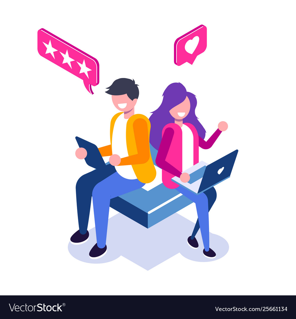 Customer review isometric concept usability