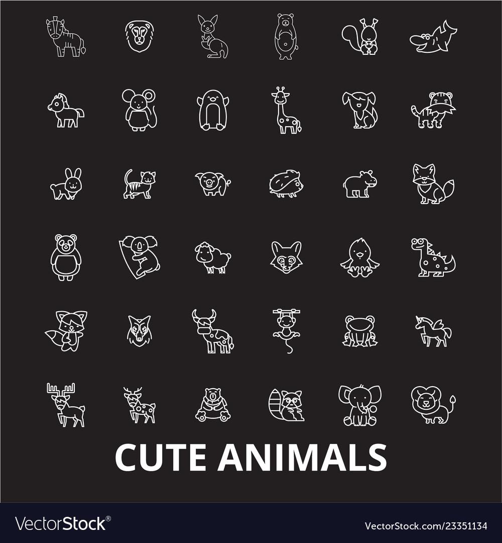 Cute animals editable line icons set on