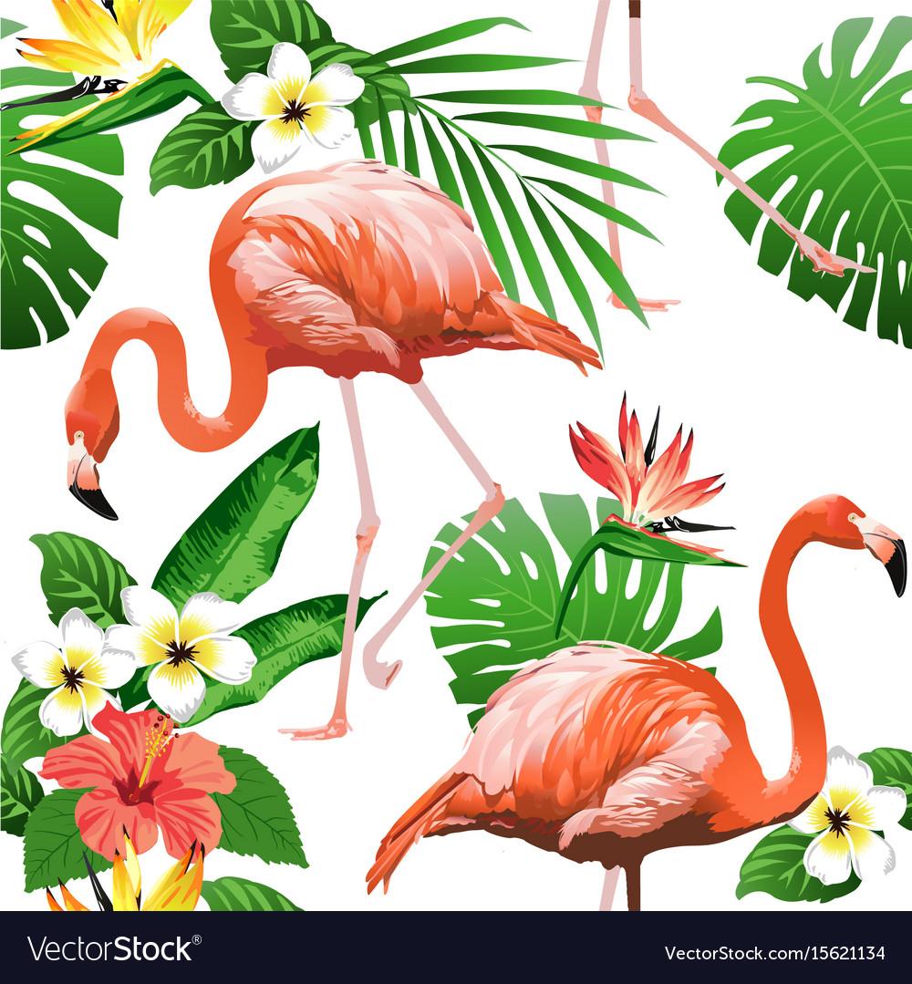Flamingo bird and tropical flowers