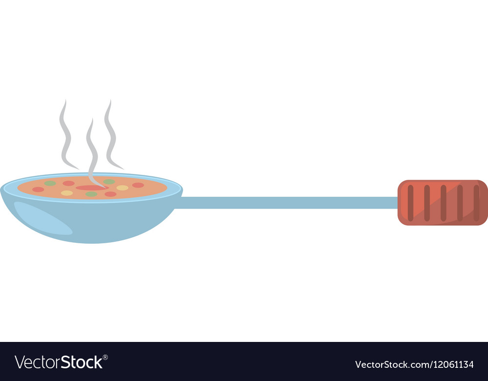 Ladle with hot soup cook kitchen vector image