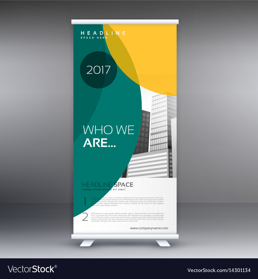 Modern standee roll up banner design with green