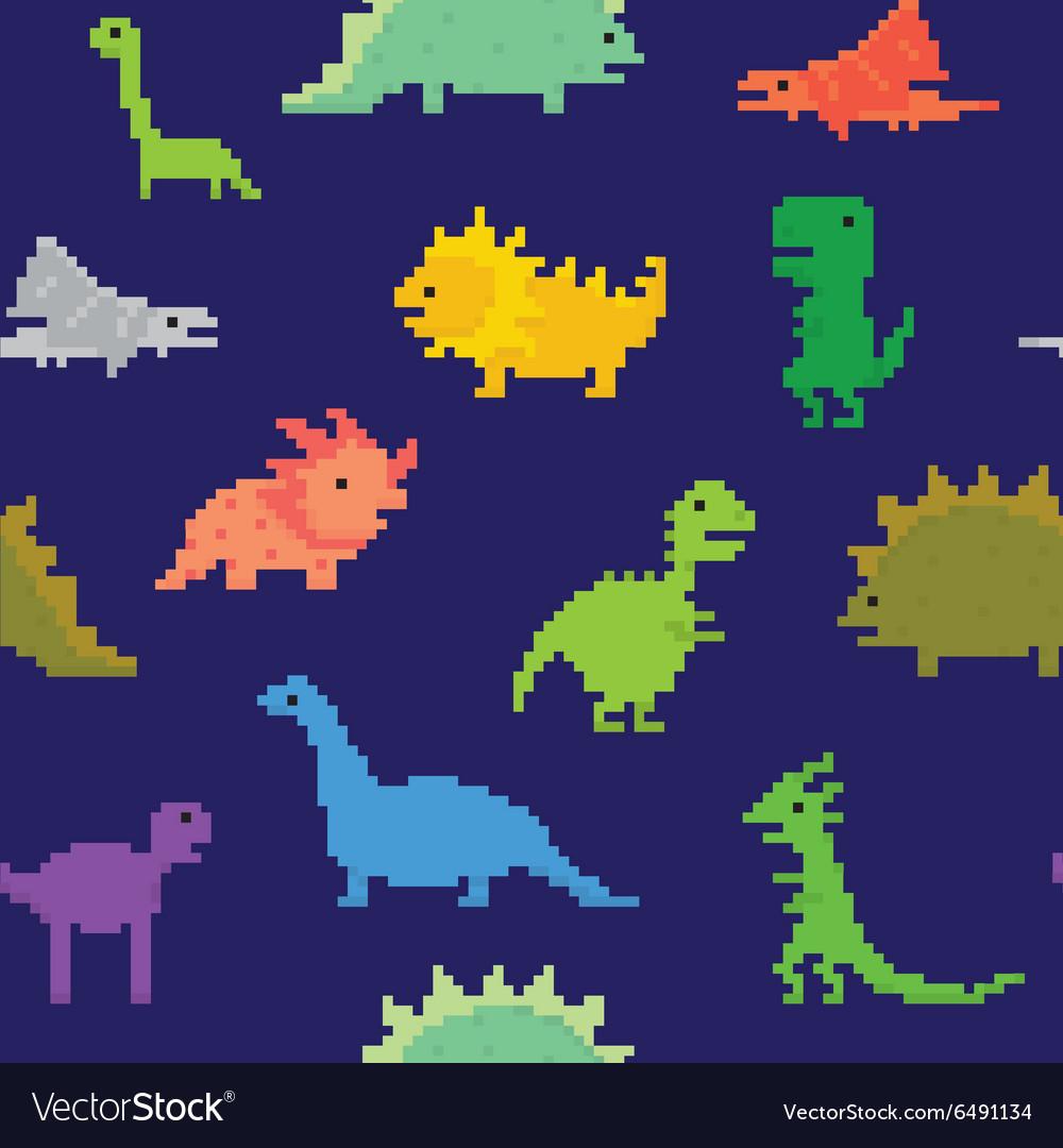 Pixel art dinos seamless pattern