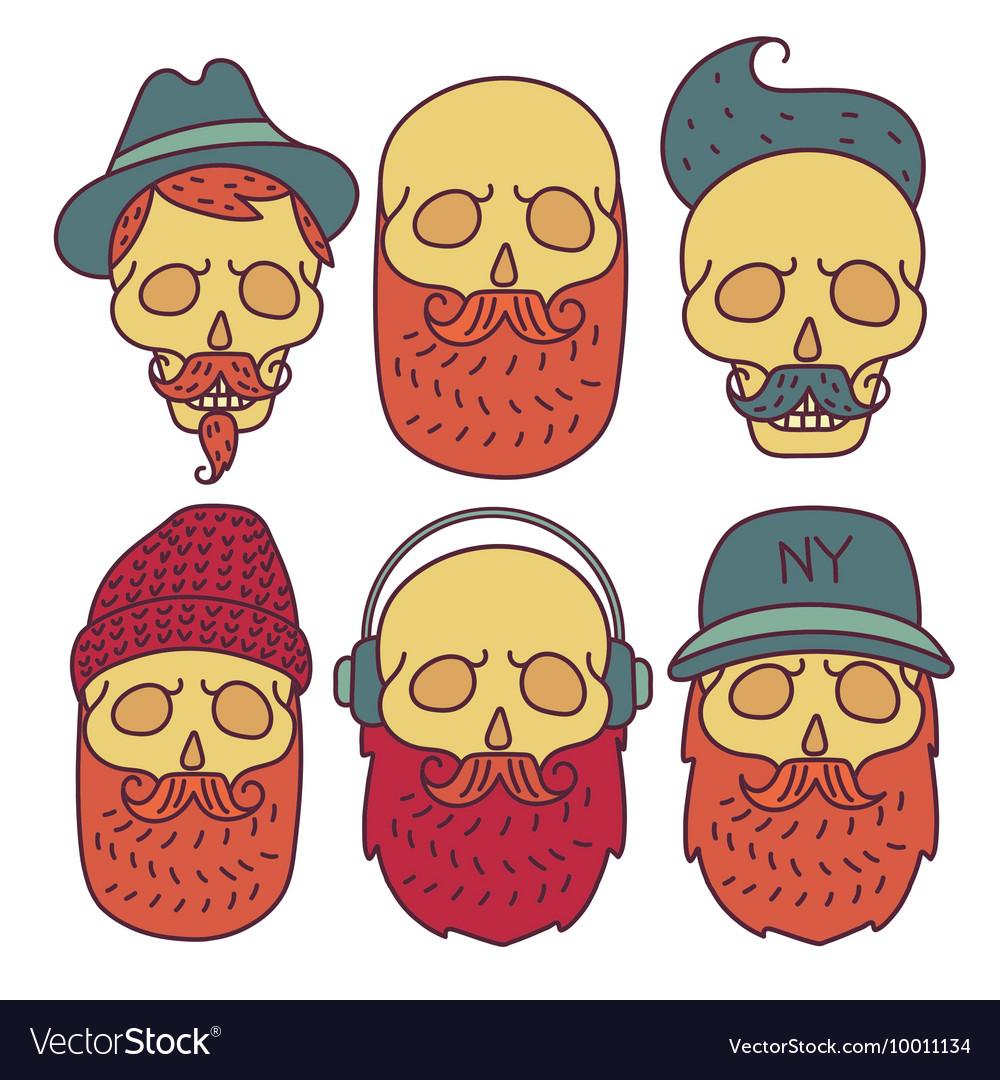 Skull hipster hand drawn