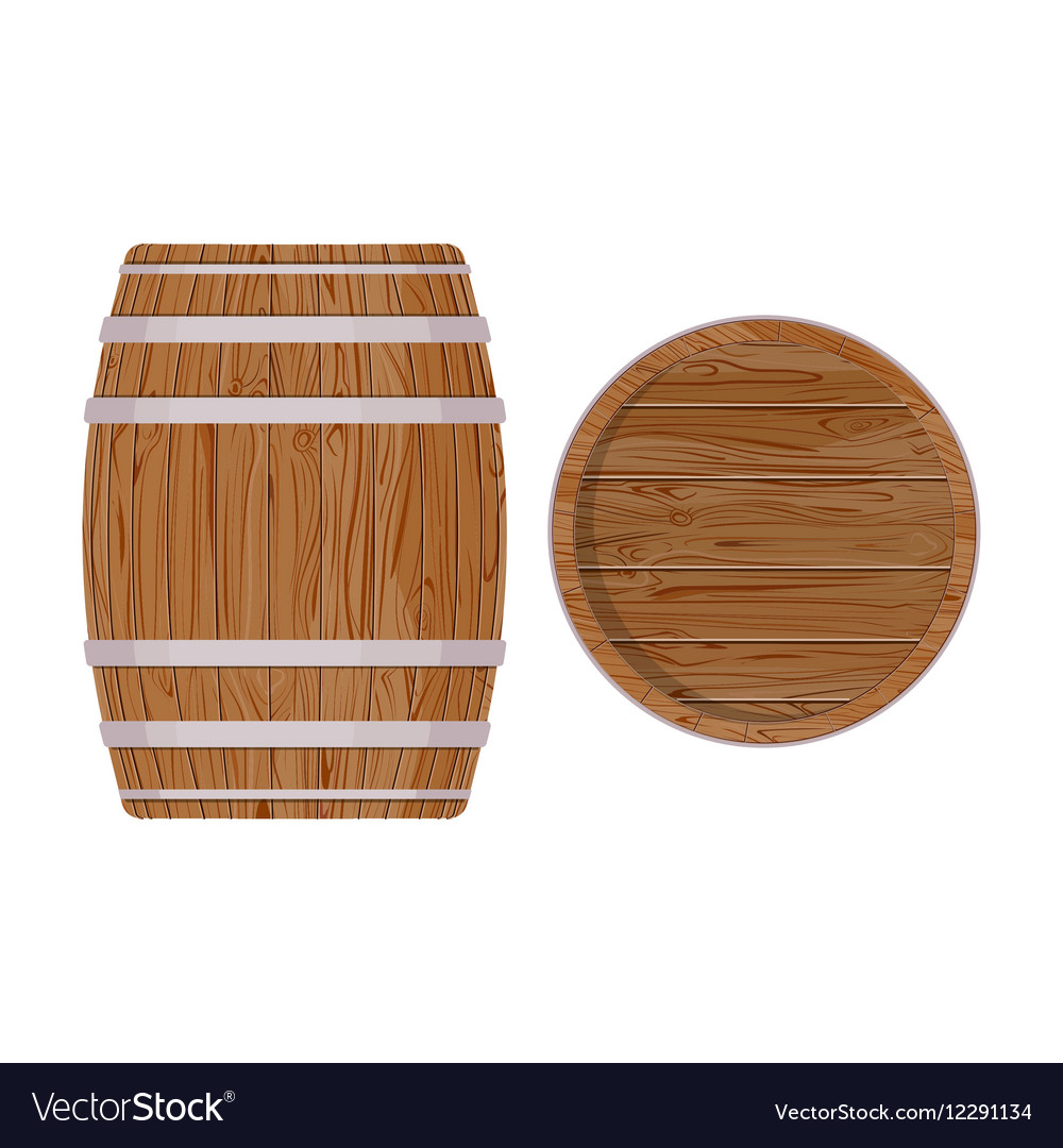 Wooden barrel with iron rings isolated on white