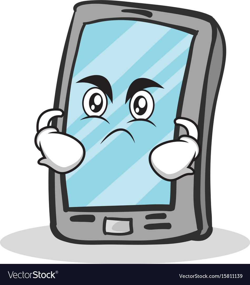 Angry face smartphone cartoon character
