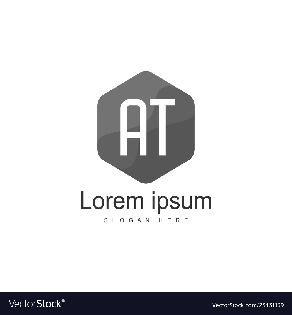 At letters logo design simple and creative black