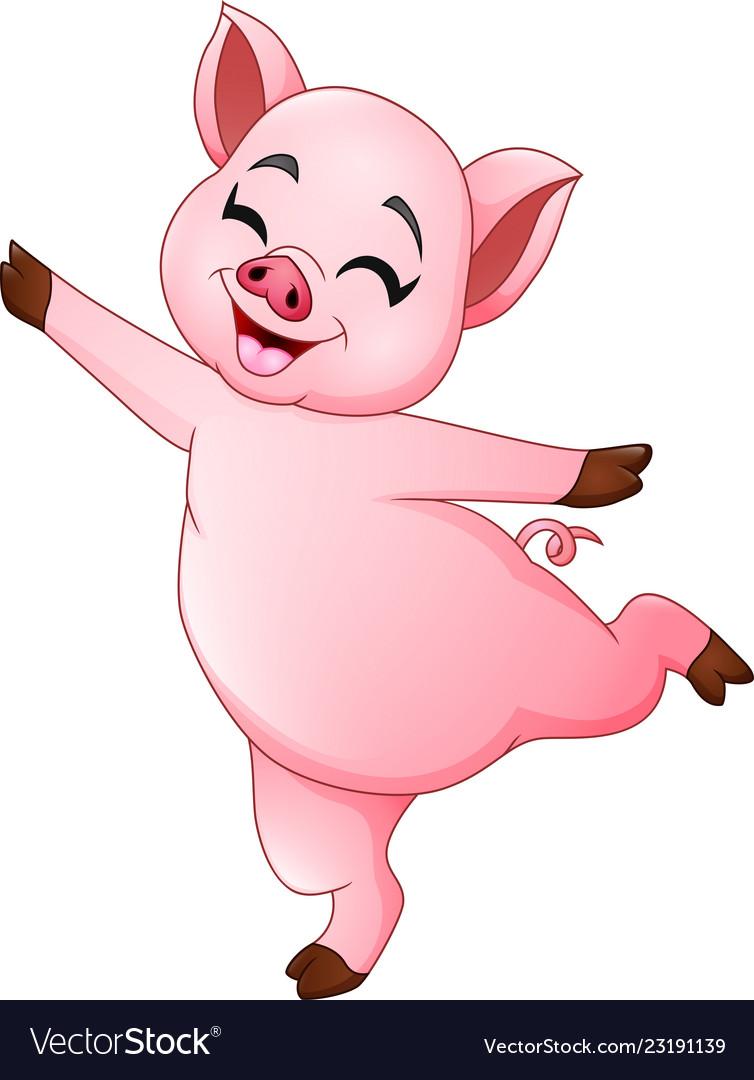 Cartoon little pig dancing