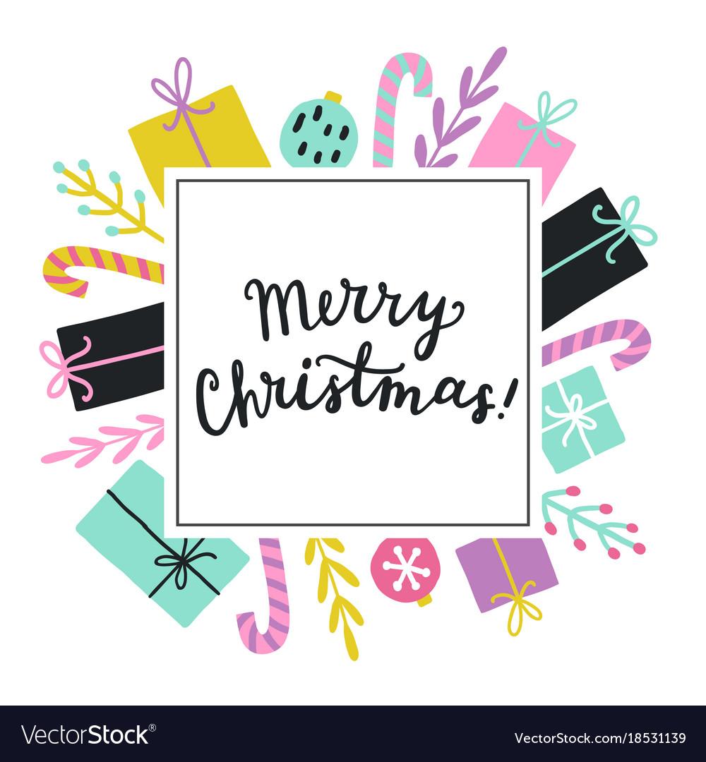 Cute christmas greeting card template