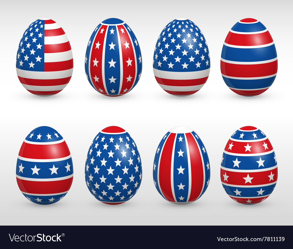 Easter eggs usa colors flags set Royalty Free Vector Image