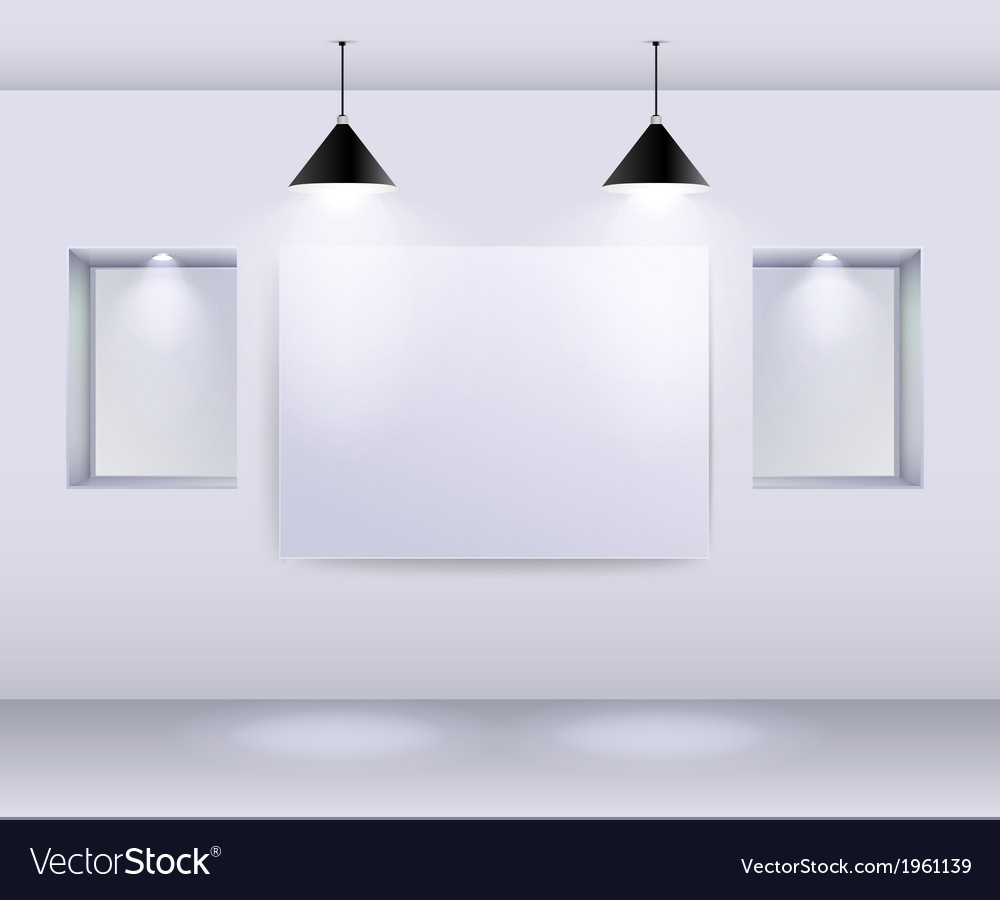 Gallery Interior with empty frame on wall and spot vector image