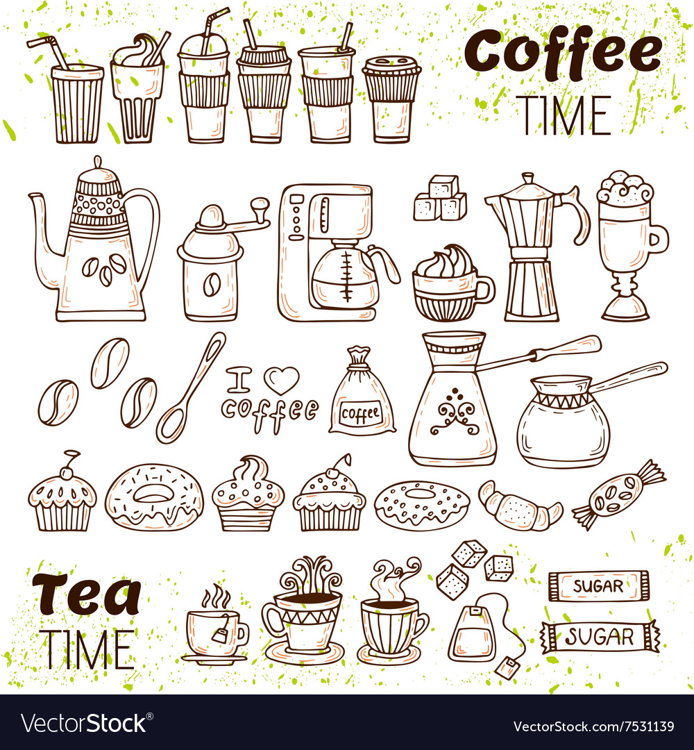 Hand draw coffee and tea collection Sketch doodles
