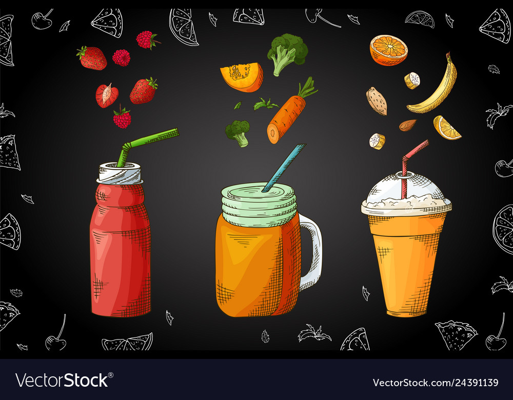 Hand drawn smoothie poster with of