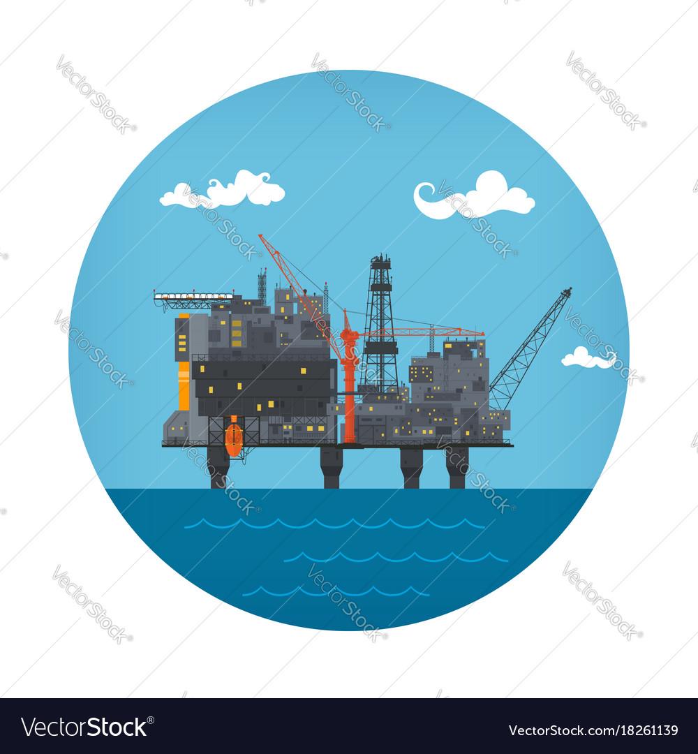 Icon of sea oil platform vector image