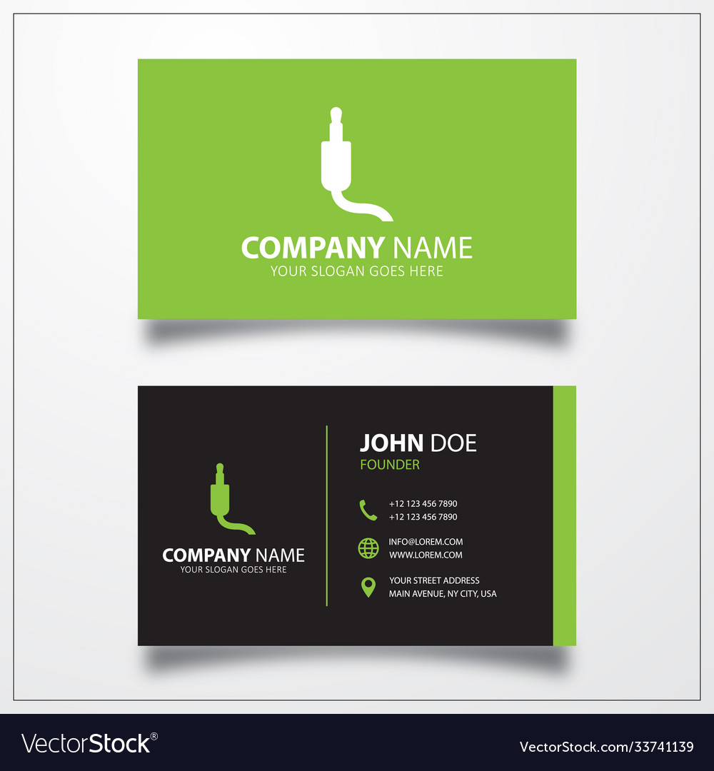 Jack audio cable icon business card template
