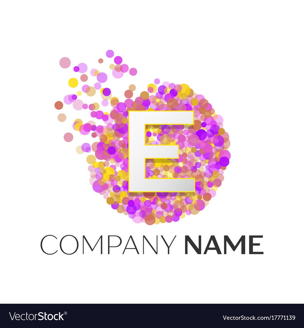 Letter E Logo With Purle Particles And Bubble Dots
