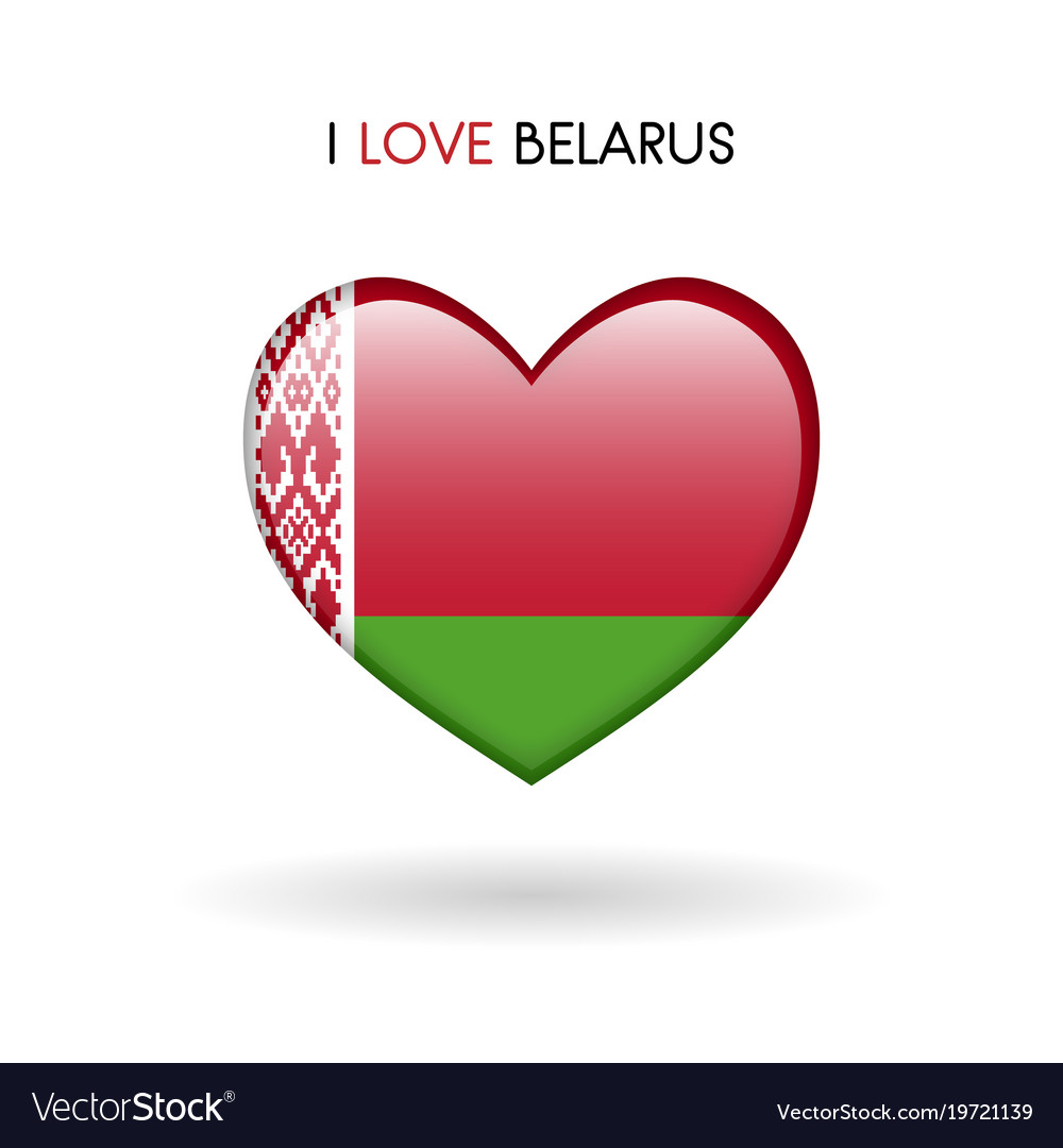 Love belarus symbol flag heart glossy icon on a
