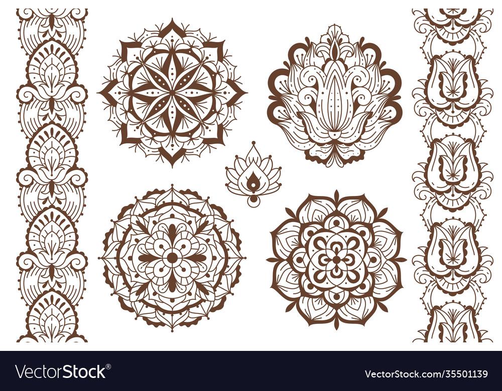 Mehndi elements ethnic temporary henna tattoo