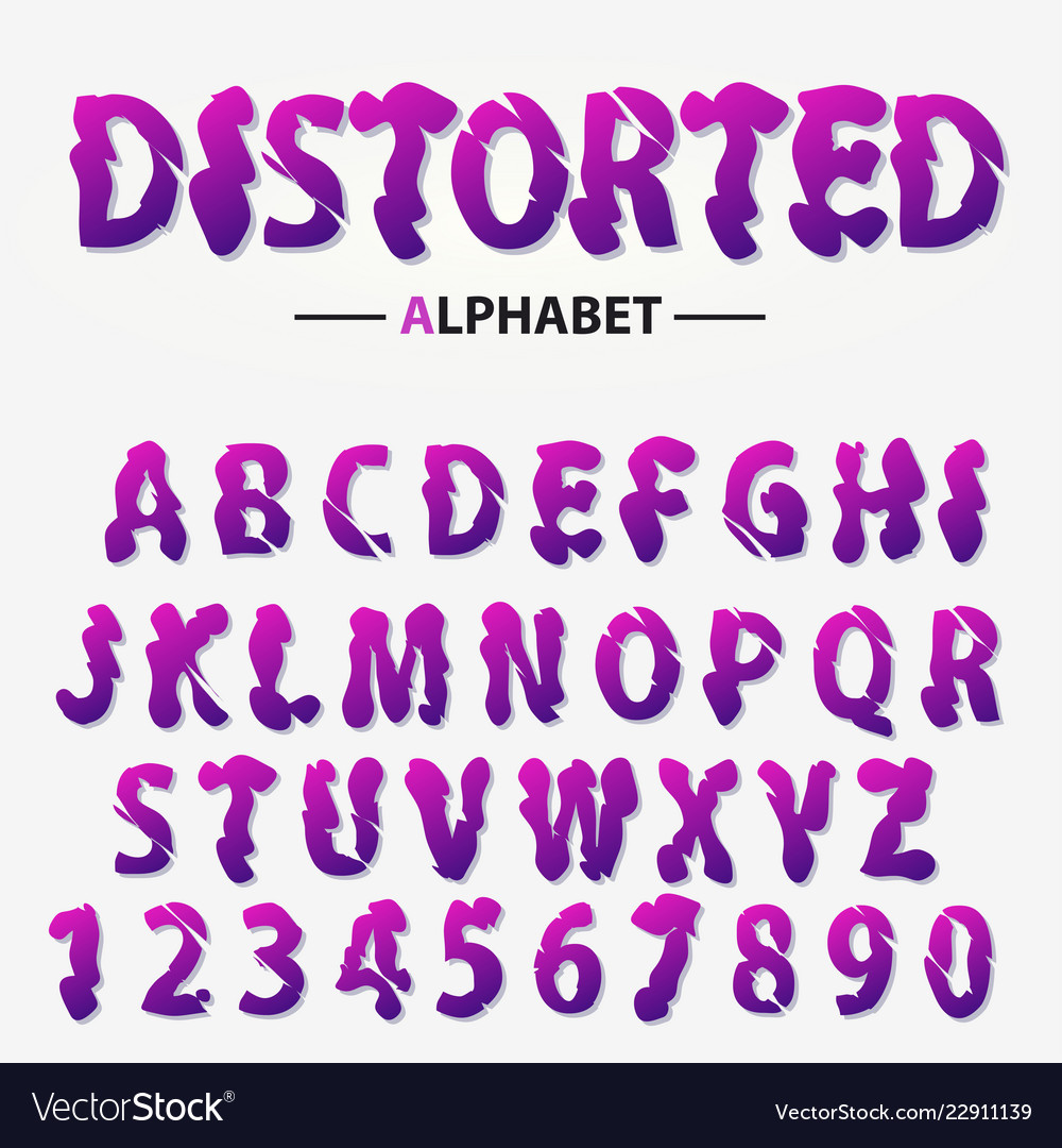 Modern futuristic alphabet distorted letters and