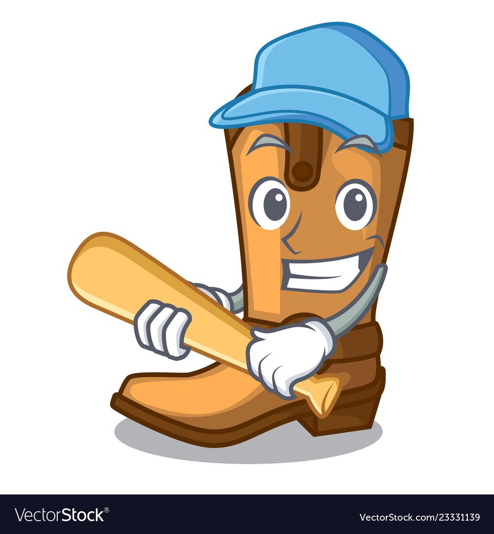 cbd6c00b3f1 Playing baseball cowboy boots in the shape cartoon
