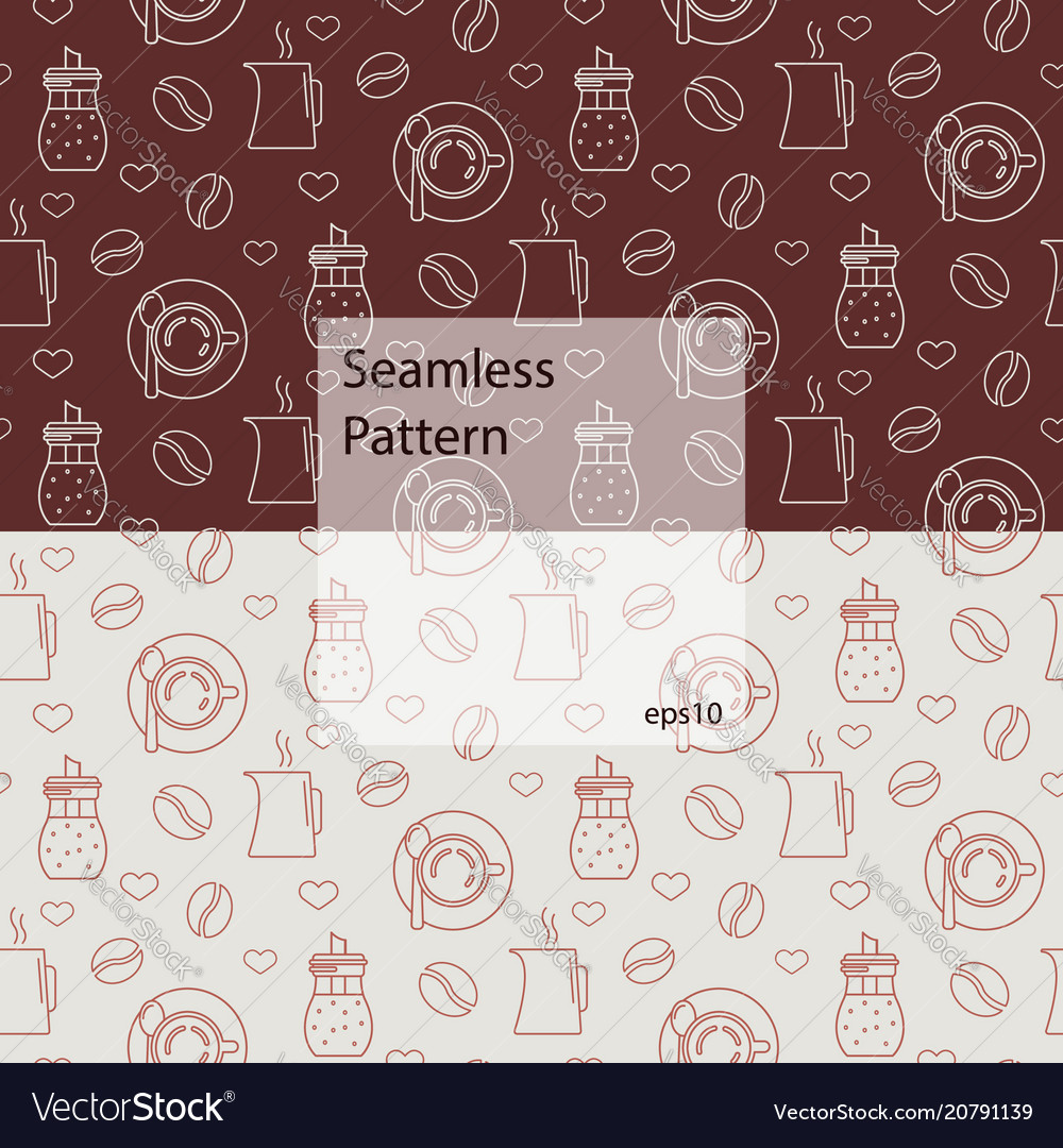 Seamless pattern with various kinds of coffee