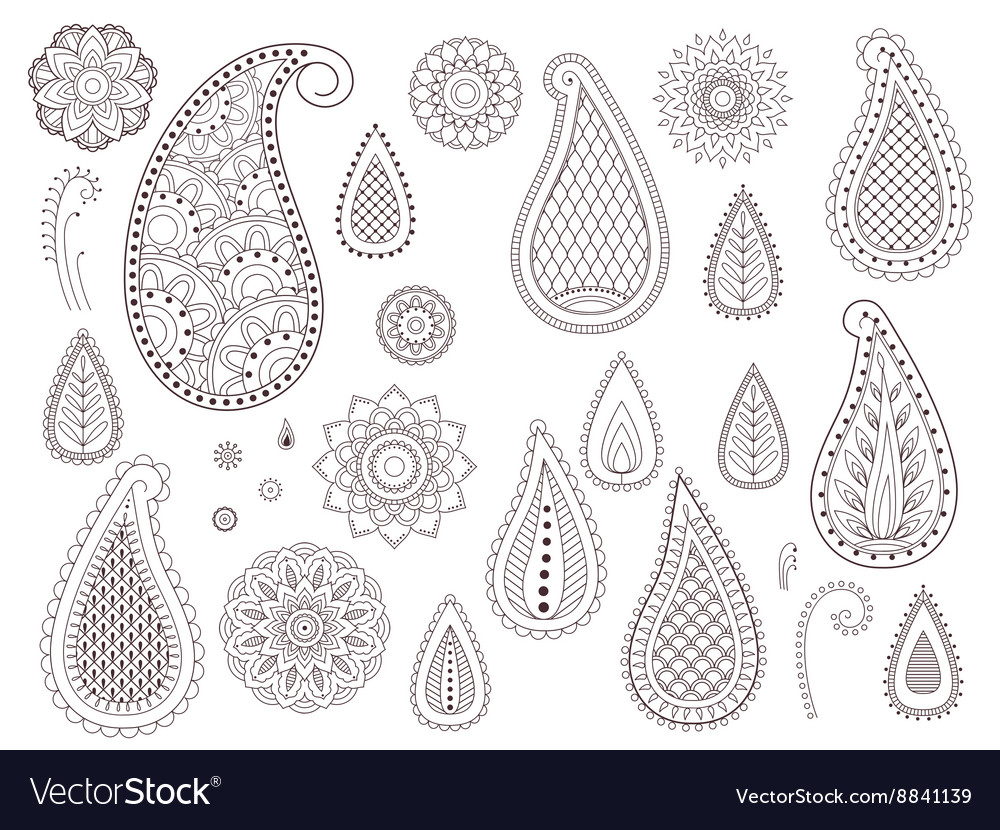 Set of henna tattoo elements vector image