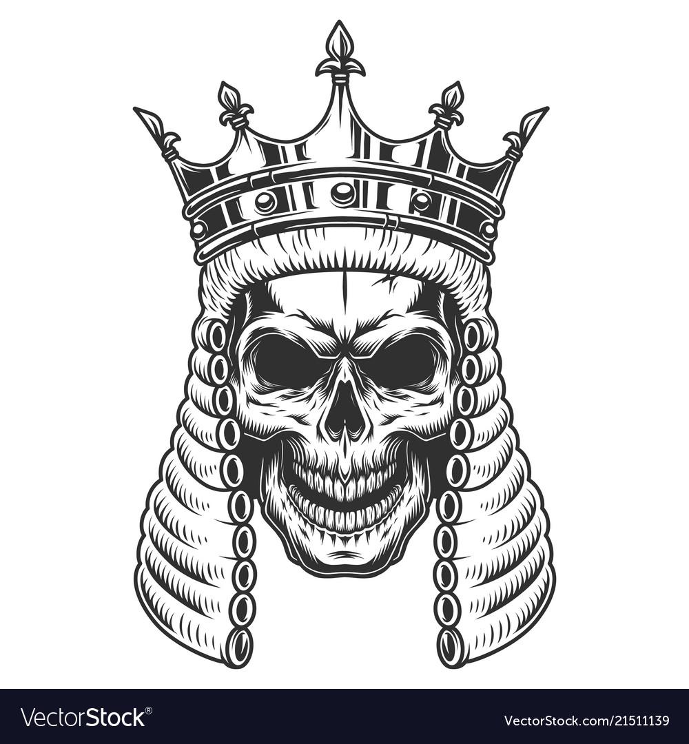 Skull in judge wig