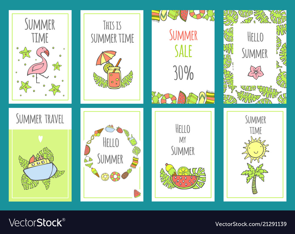 Summer set of sale banner templates with cute hand