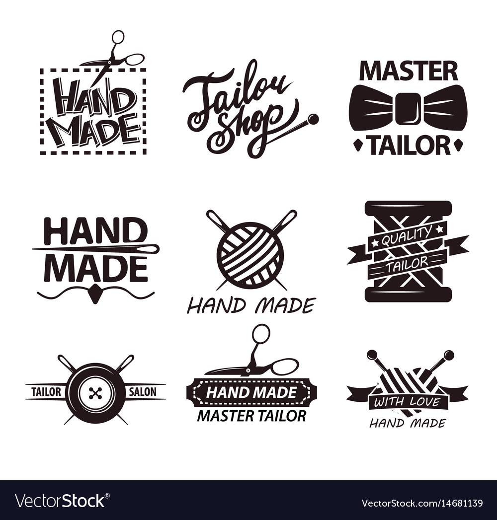Tailor salon advertisement logotypes set of logos vector image