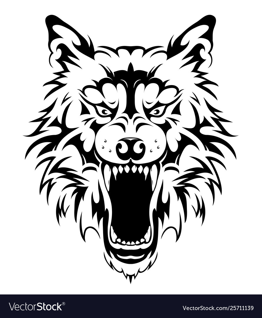 bda6878f4924e Wolf head tattoo design Royalty Free Vector Image