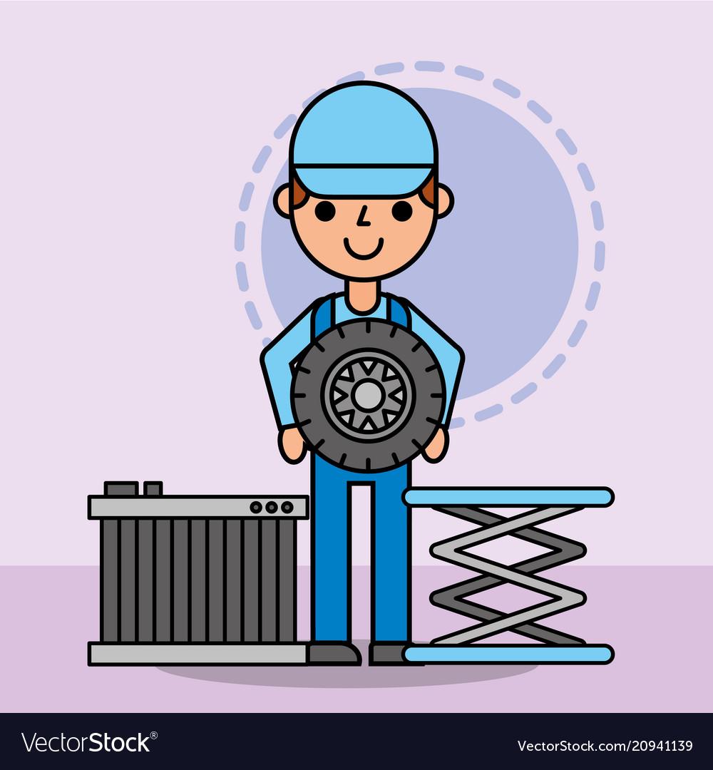 Worker mechanic holding wheel and radiator car
