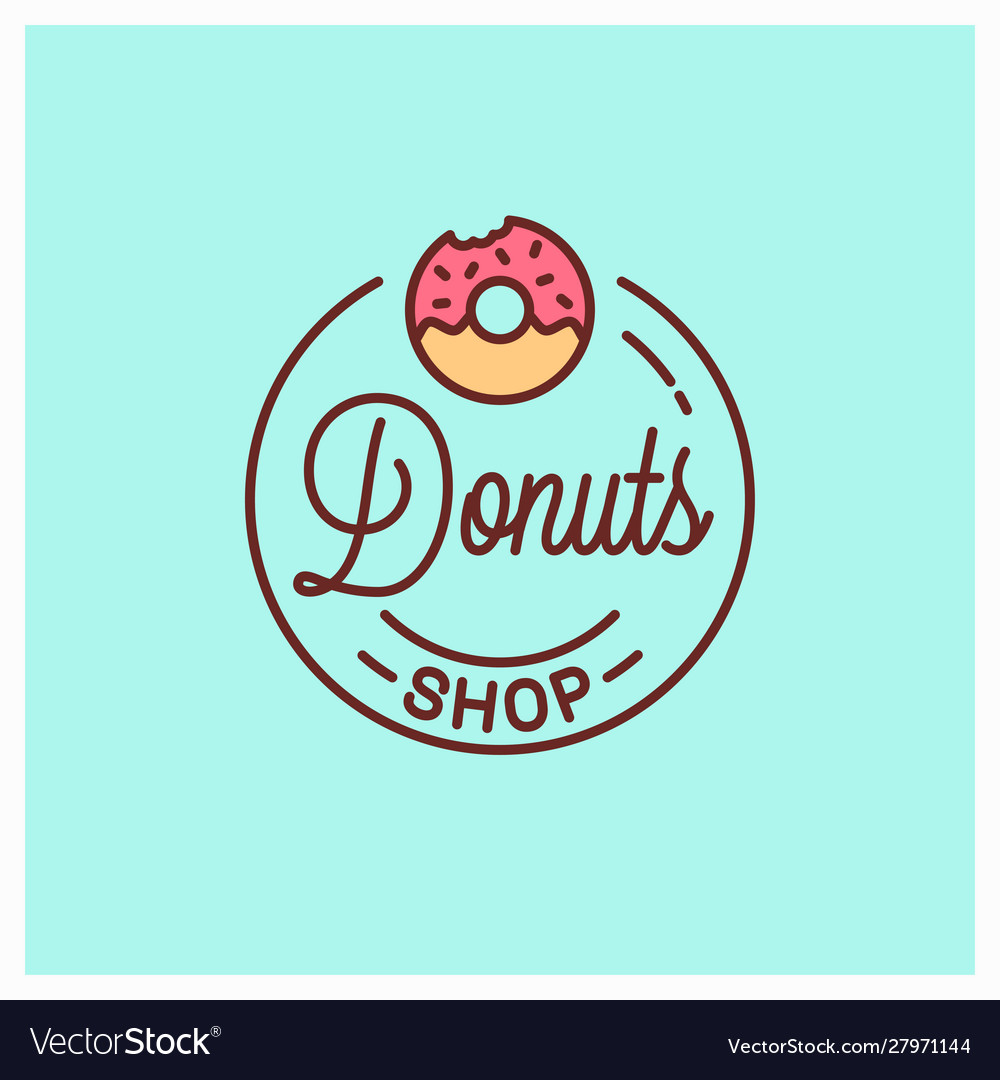 Donuts shop logo round linear donut bakery