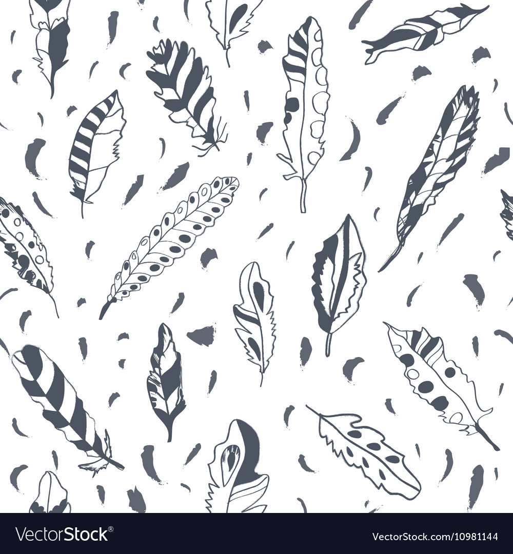 Graphic feathers seamless pattern ornate design