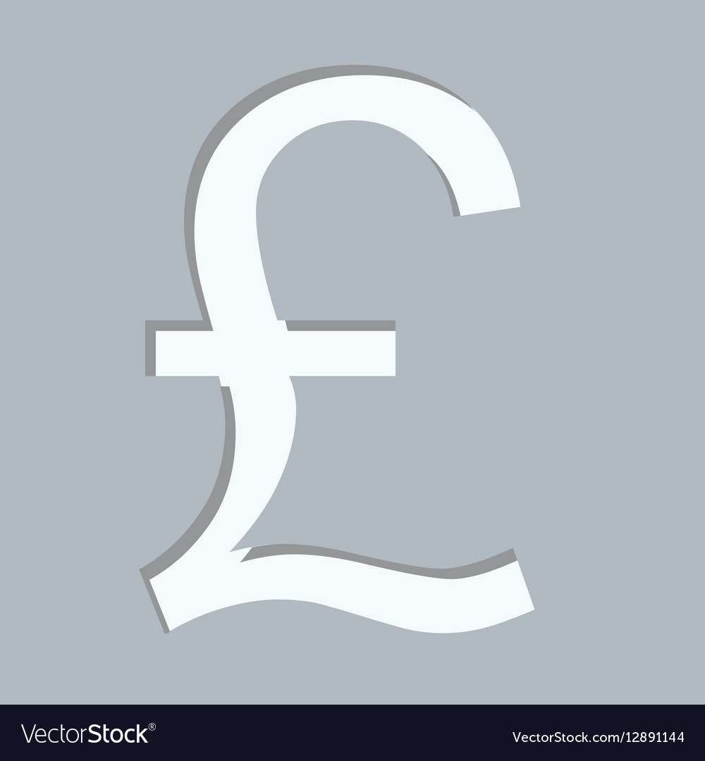 Gray Square With Currency Symbol Of Sterling Pound