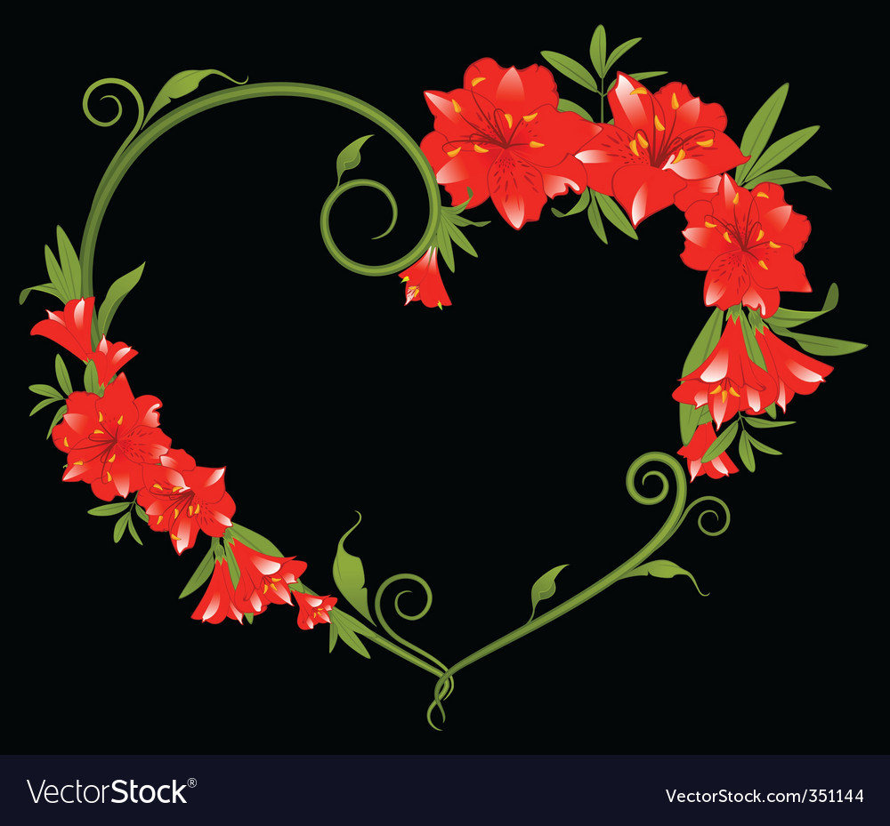 Heart Frame Of Hibiscus Flower Royalty Free Vector Image