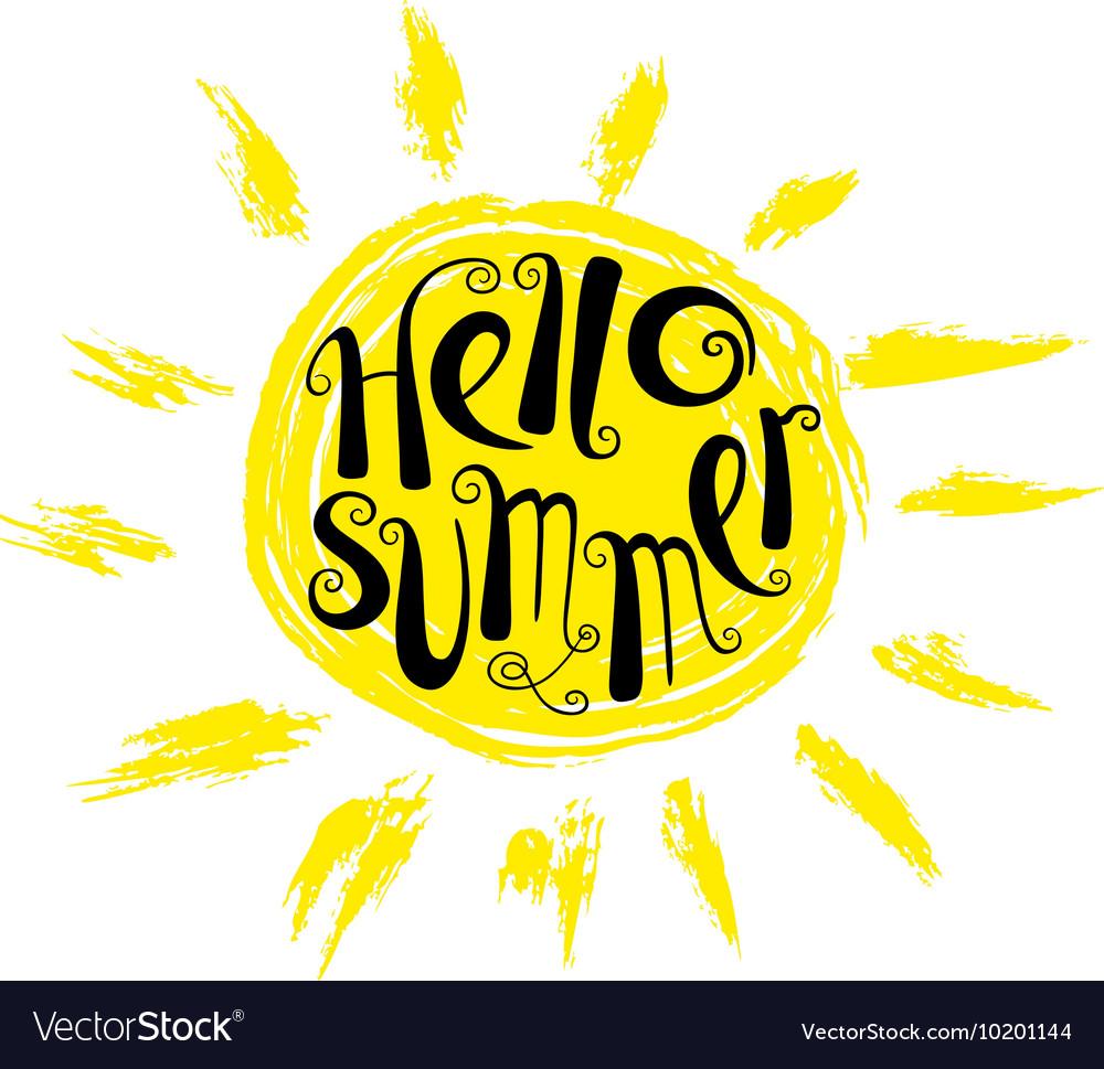 Hello summer lettering