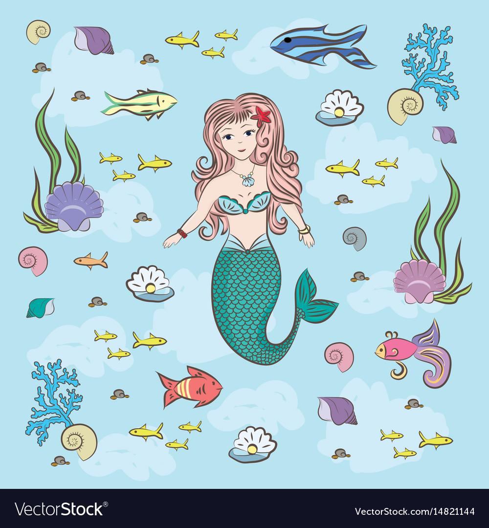 Mermaid and fish fry stones and seaweed
