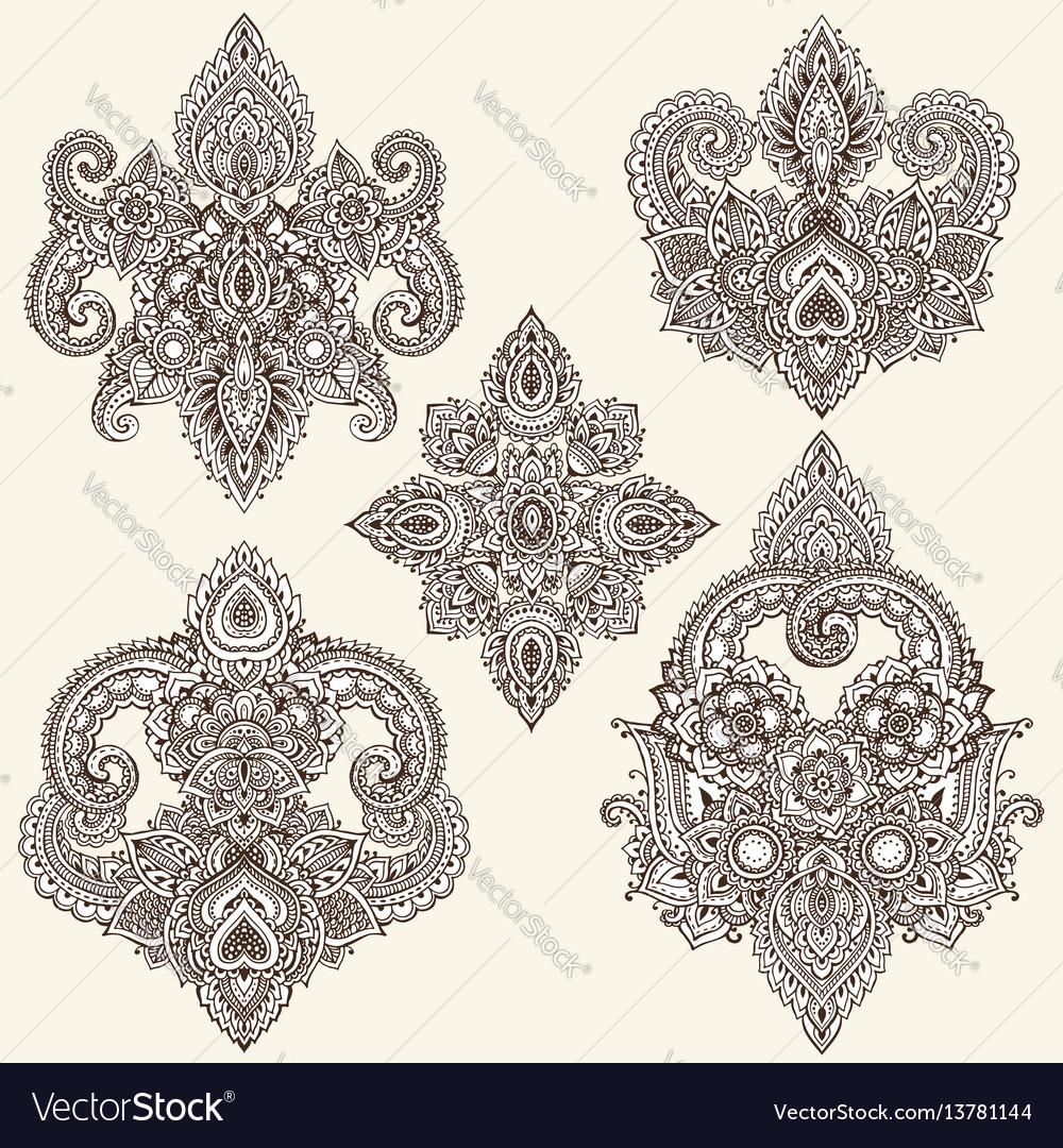 Set of henna floral elements