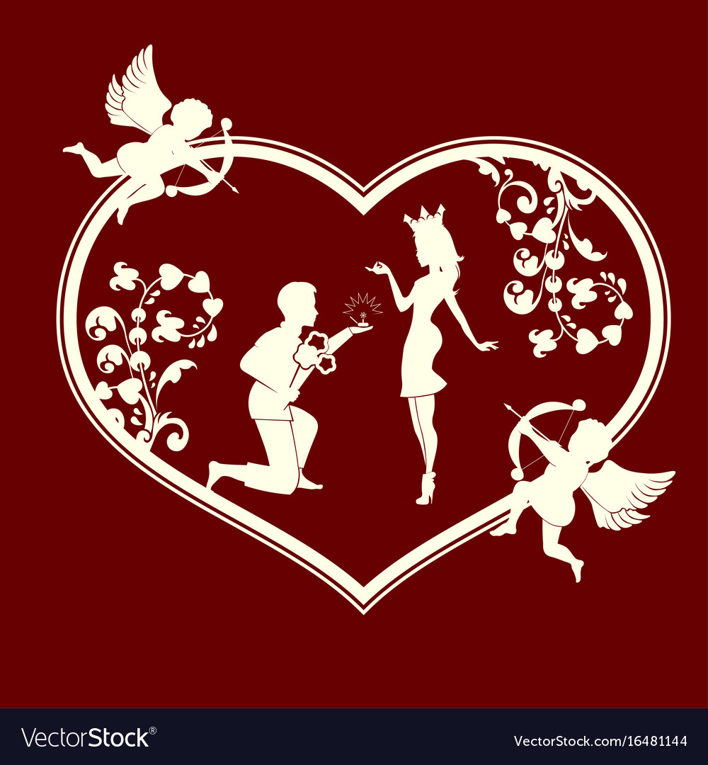 Silhouette of a heart with cupids and a couple in vector image