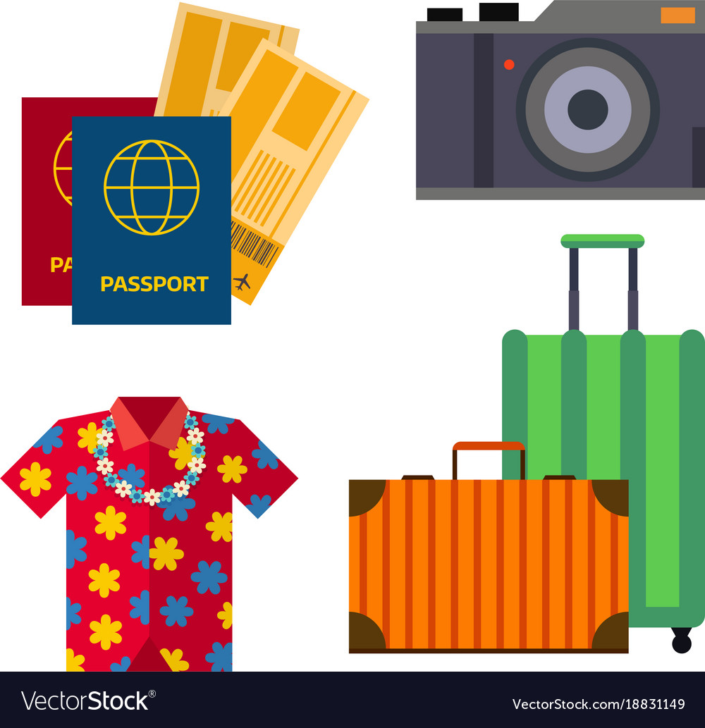 Airport travel sight accessory icons flat tourism