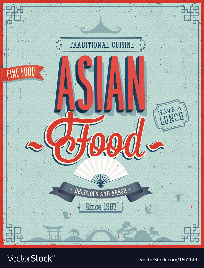 Asian menu color vector image