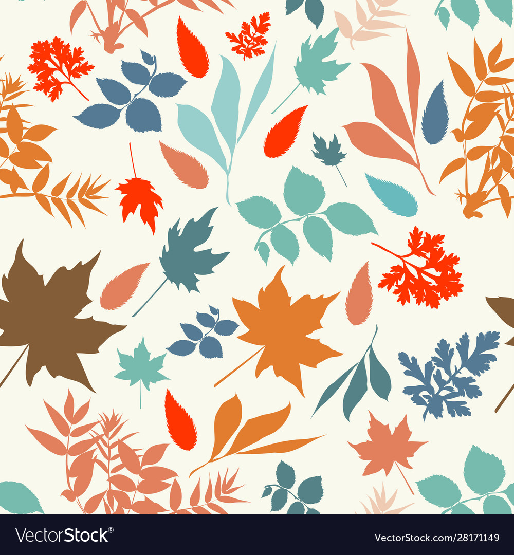 Autumn rustic pattern with colored leaves
