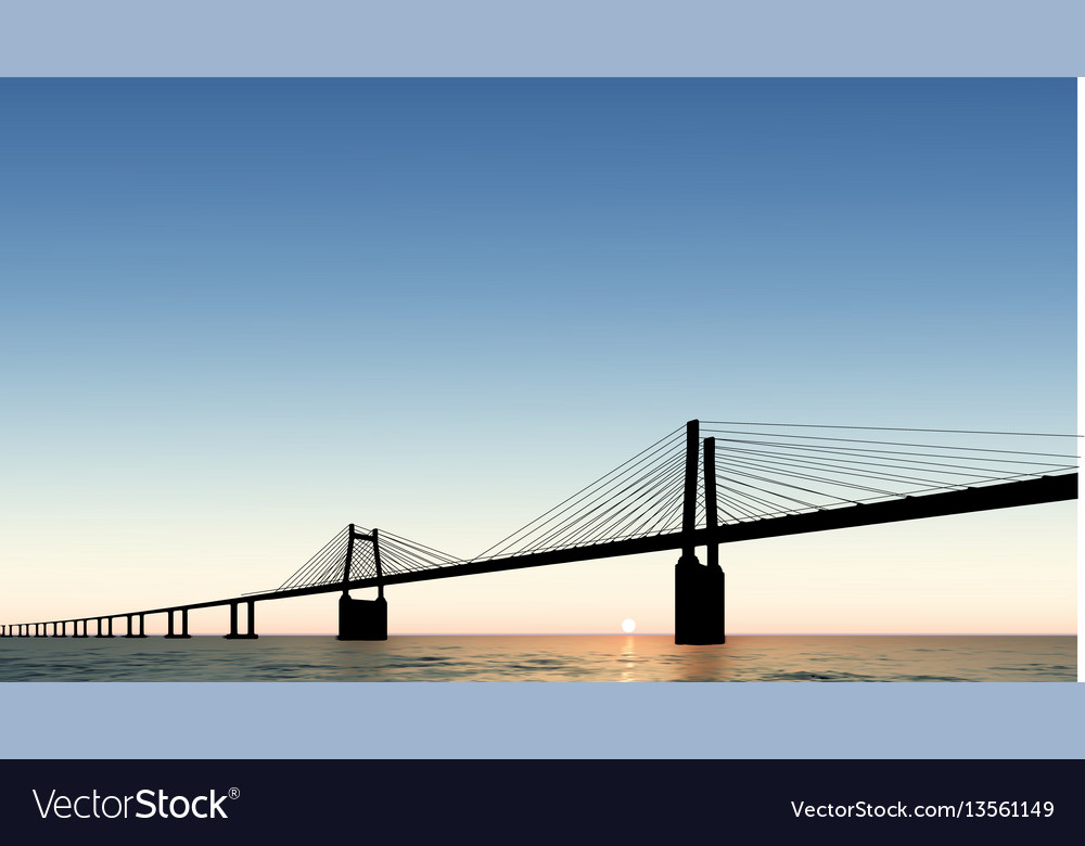 Bridge dusk sunset vector image