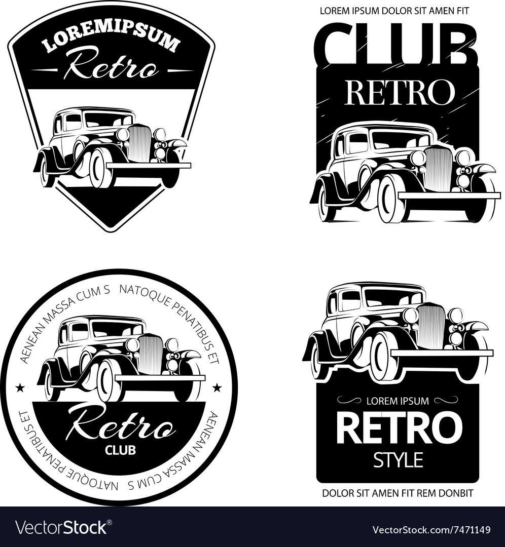 Classic Muscle Car Labels Emblems And Royalty Free Vector