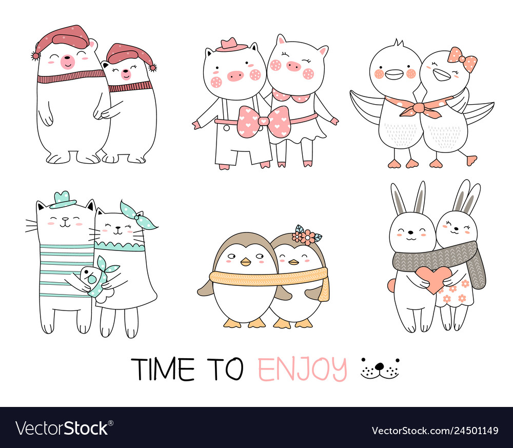 Cute baby animal cartoon hand drawn style