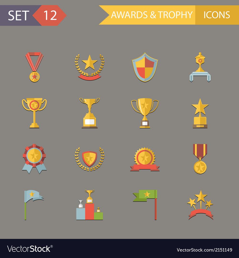 Flat Design Awards Symbols and Trophy Icons Set