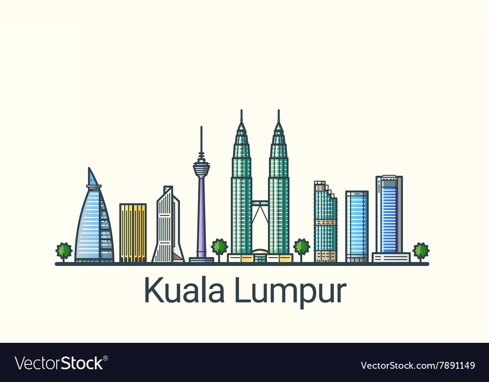 Flat line Kuala Lumpur banner