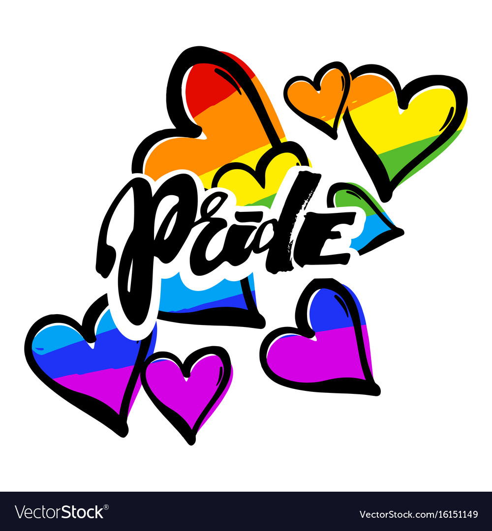 Gay pride rainbow colored hearts pattern