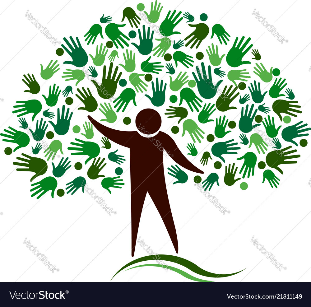 Human figure tree with hands network logo