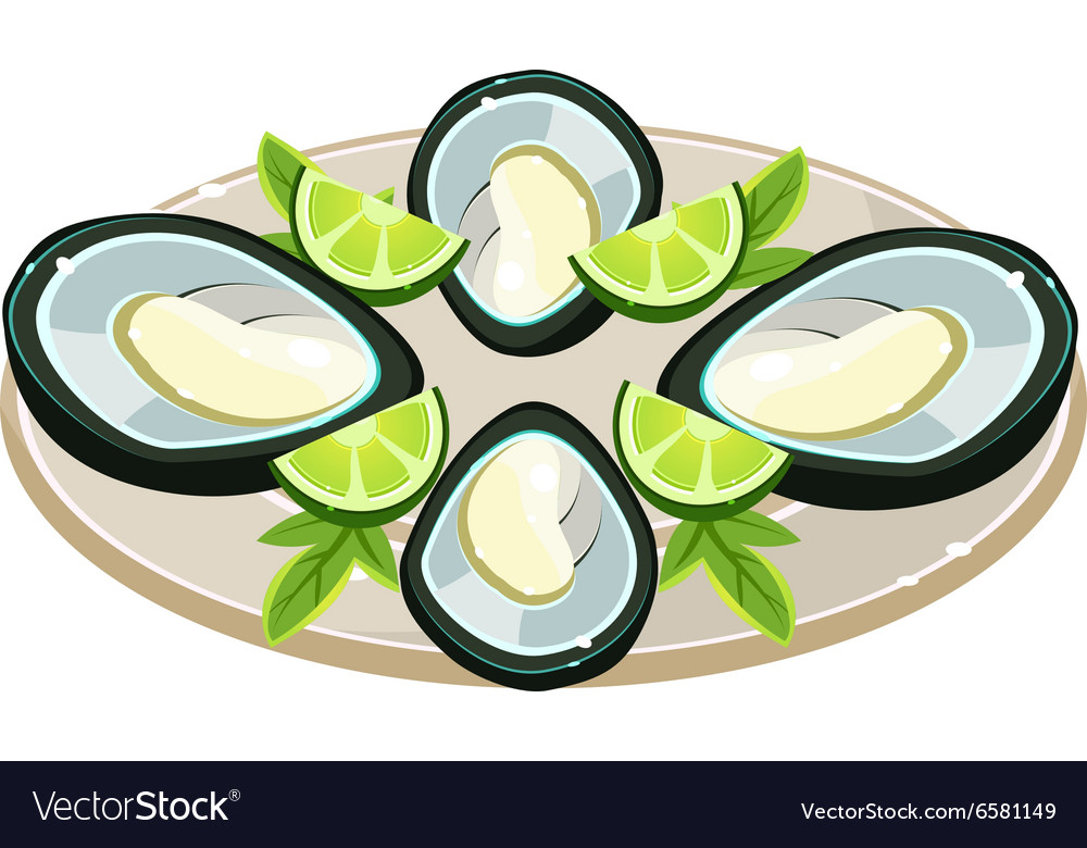 Mussels with Lime on a Dish